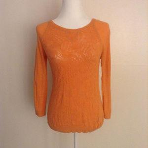 Moth Anthropologie Peach Knit Sweater Gold Trim